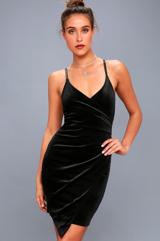 20e693af343a PPLA Lolita - Black Velvet Bodycon Dress - Wrap Dress