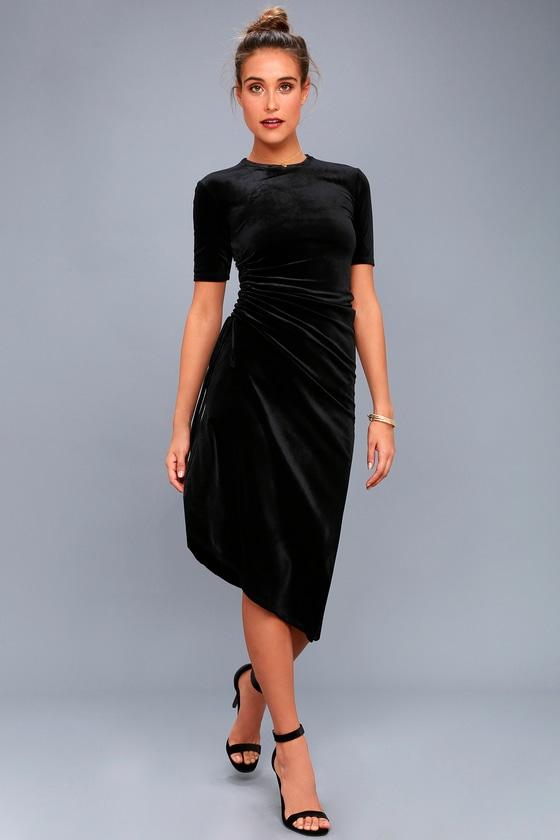 5e8903787b41 Chic Black Dress - Velvet Dress - Midi Dress