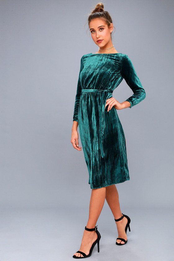 e80ea839ba0c BB Dakota Lennox - Forest Green Velvet Midi Dress