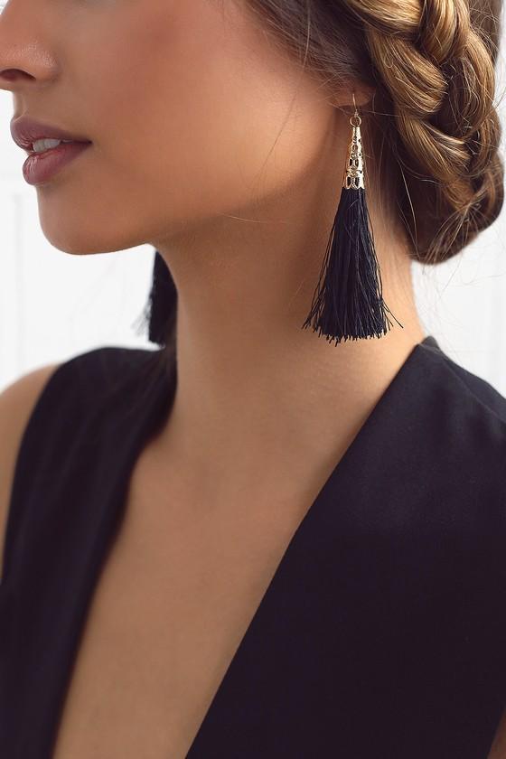 Bellamy Black Tassel Earrings 1