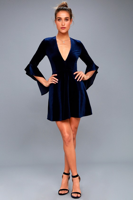 5d334e21ce Wrapped in Luxe Navy Blue Velvet Bell Sleeve Skater Dress