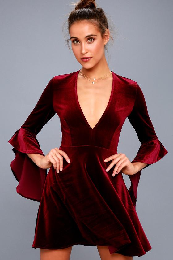 7fe9ff2f2fe3e Wrapped in Luxe Burgundy Velvet Bell Sleeve Skater Dress