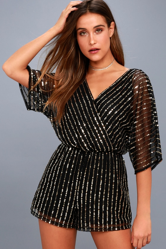 Odelia Black and Gold Sequin Romper 1