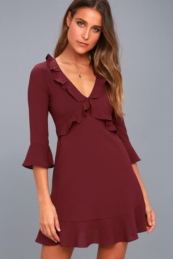 Somebody to Love Plum Purple Ruffled Flounce Sleeve Dress 1