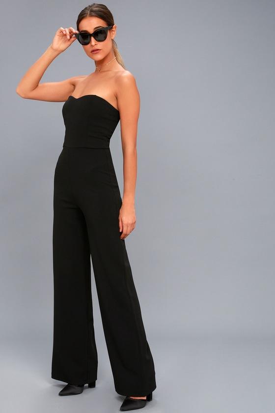 Chic Black Jumpsuit Strapless Jumpsuit Trendy Jumpsuit