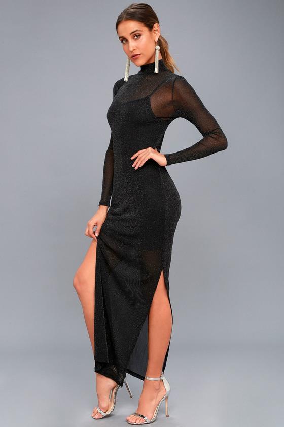 568ebb51458 MINKPINK Silver Linings - Black Long Sleeve Maxi Dress
