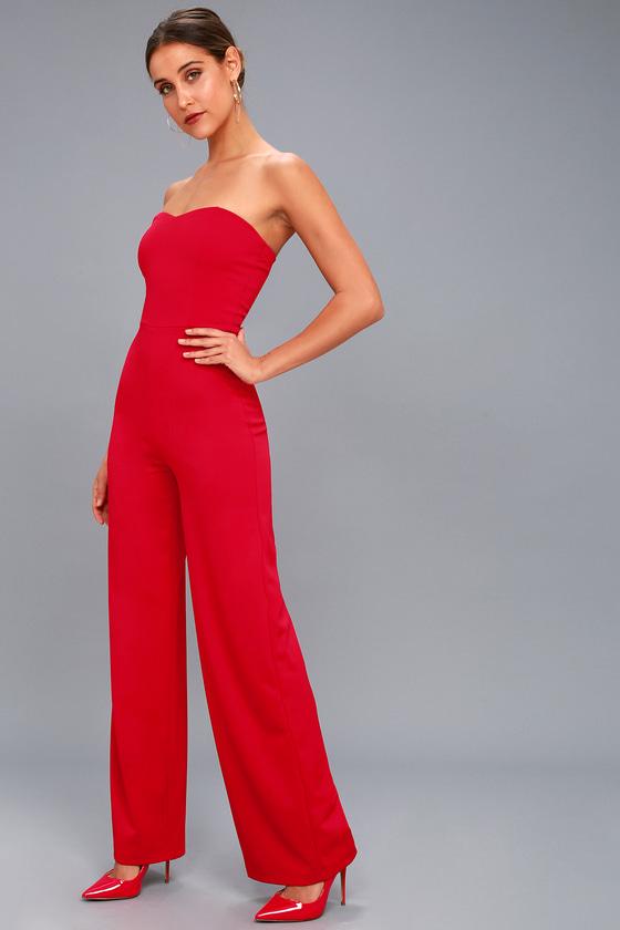 ccb51ee9084 Chic Red Jumpsuit - Strapless Jumpsuit - Trendy Jumpsuit