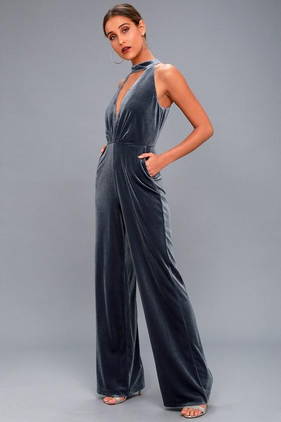 Lush - Bia Slate Blue Velvet Sleeveless Jumpsuit