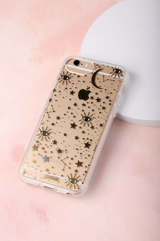 Cosmic Clear and Gold Star Print iPhone 6s, 7, and 8 Case 1