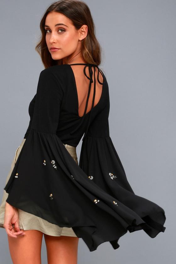 69bfd353ba Lost Ink Flounce Sleeve Bodysuit - Embellished Bodysuit