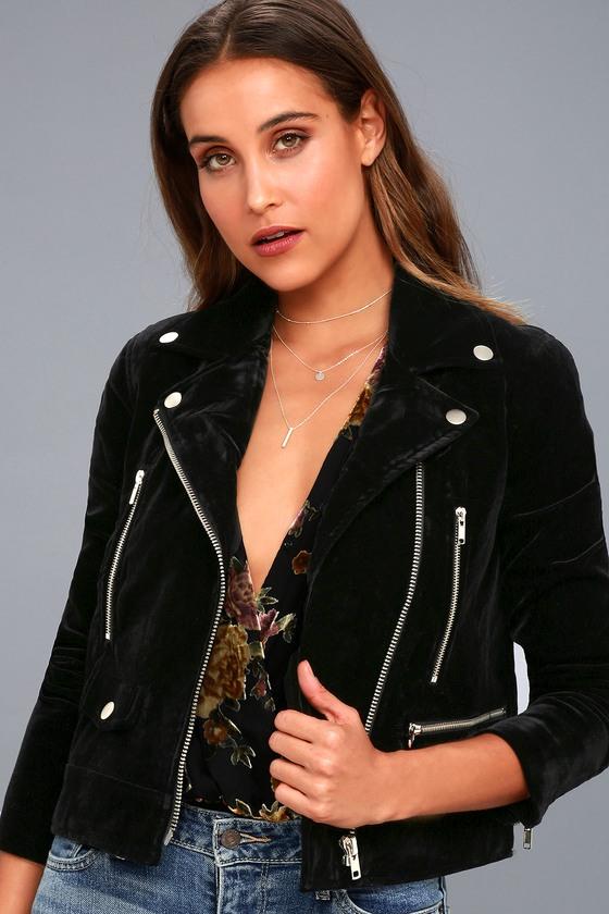 Style Icon Black Velvet Moto Jacket 2