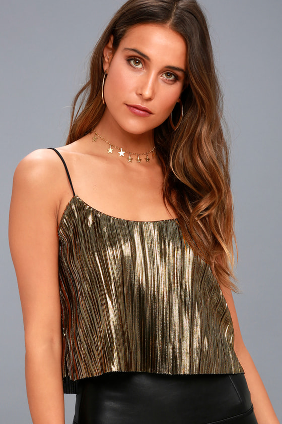 Midnight Kiss Black and Gold Pleated Crop Top 3