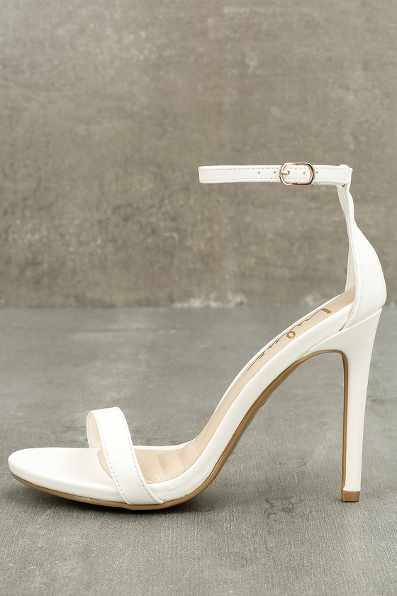 White Heels - Ankle Strap Heels - Single Strap Heels