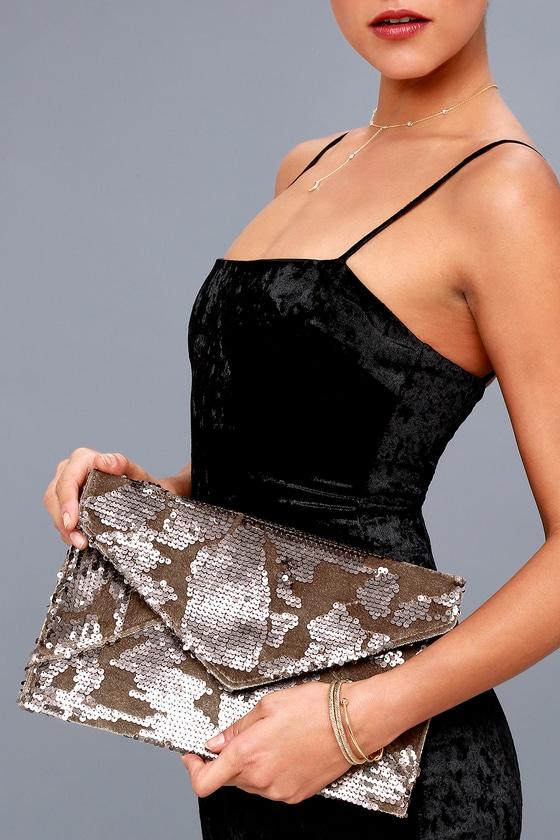 Dare to Dazzle Bronze Sequin Envelope Clutch 4