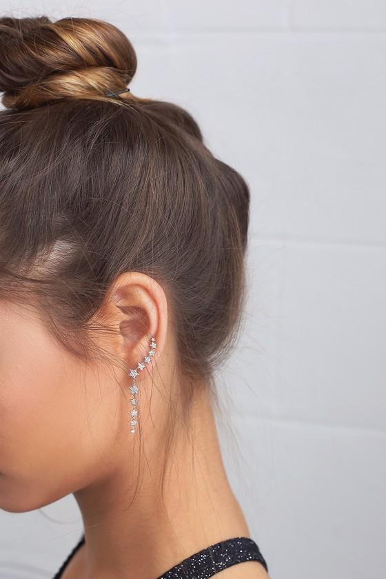 Shooting Star Silver Rhinestone Star Earrings 4