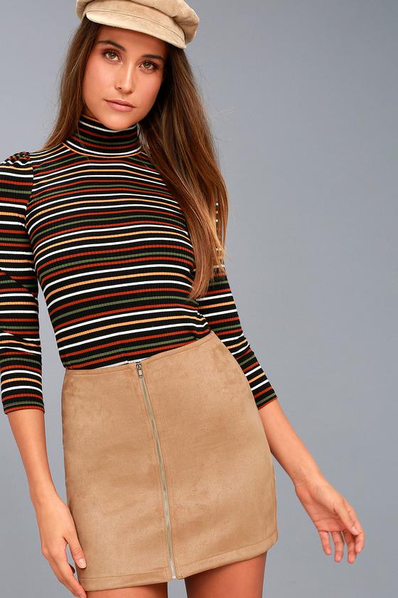 8df73c42953 Cool Tan Skirt - Mini Skirt - Suede Skirt - A-line Skirt