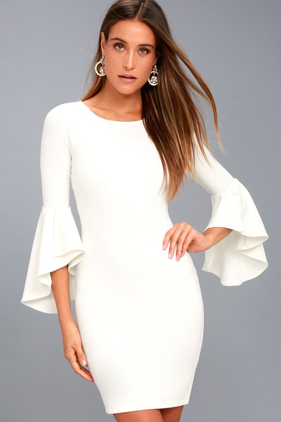 Gimme Some Flair White Flounce Sleeve Bodycon Dress - Lulus