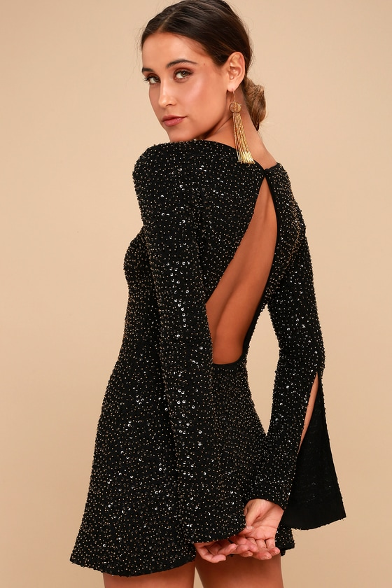 Smyth Bronze and Black Sequin Long Sleeve Mini Dress 2