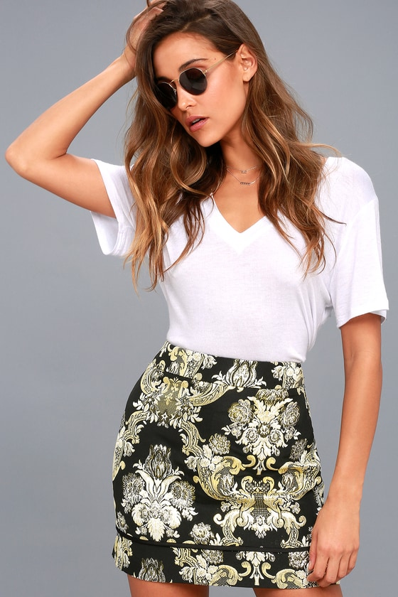 Dione Gold and Black Brocade Mini Skirt 1