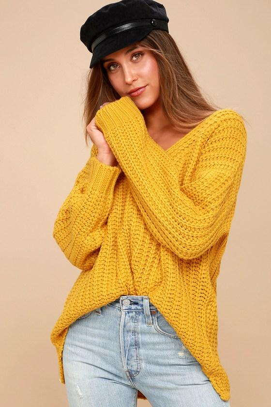 Cozy Knit Sweater - Mustard Sweater - Chunky Knit Sweater 99db65201