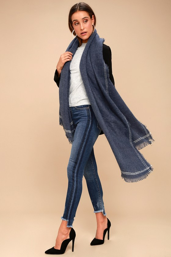 Season of Love Washed Navy Blue Scarf 4