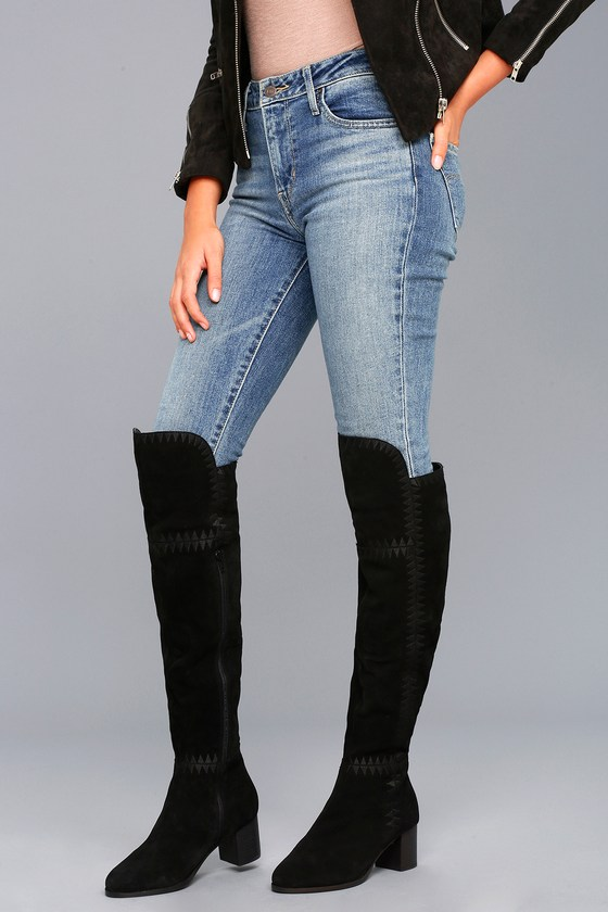Moon Black Suede Leather Embroidered Over the Knee Boot 1