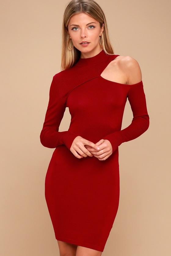 8fceea776734 Lost Ink Sweater Dress - Red Sweater Dress - Cutout Dress