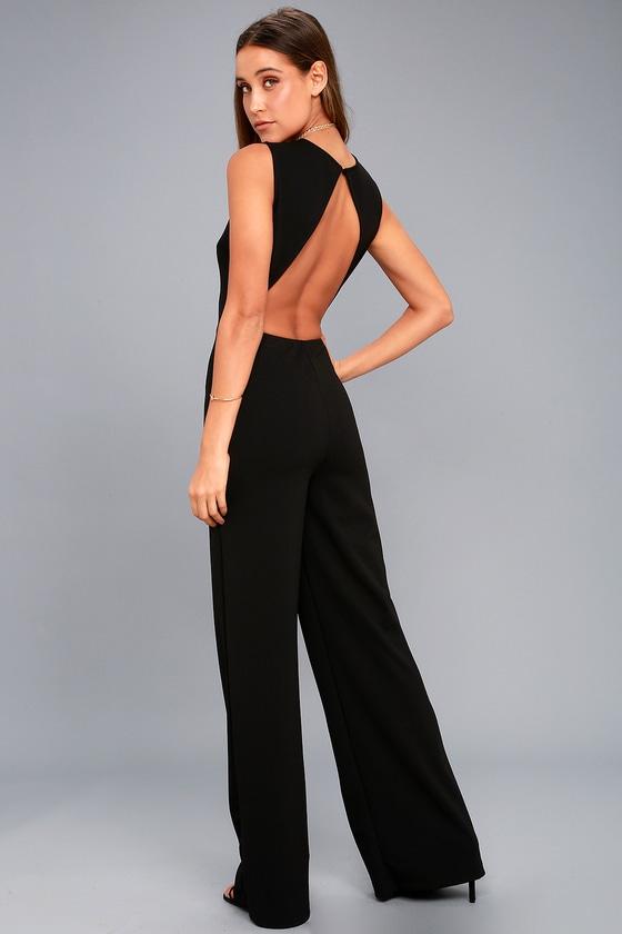ea013cdb061 Sexy Black Jumpsuit - Backless Jumpsuit - Wide-Leg Jumpsuit