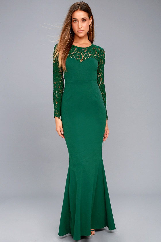 d4df9b7698f Lovely Forest Green Lace Dress - Long Sleeve Maxi Dress