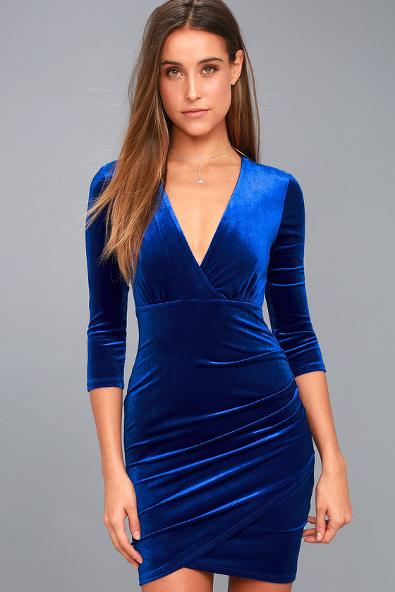 Stunning Royal Blue Velvet Dress - Surplice Bodycon Dress 3bd3997b2