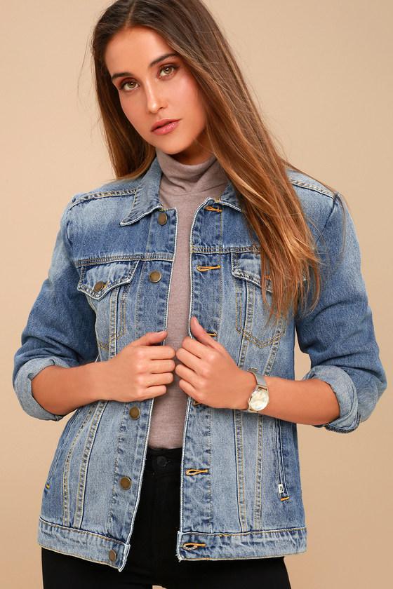 Women's 70s Shirts, Blouses, Hippie Tops Always Truckin Medium Wash Denim Jacket - Lulus $89.95 AT vintagedancer.com