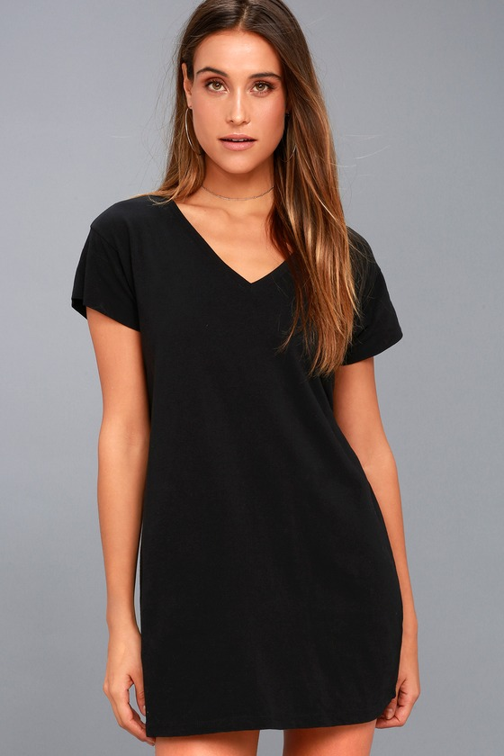 212cff2e6a49c Black T-Shirt Dress - Shift Dress - V-Neck Dress