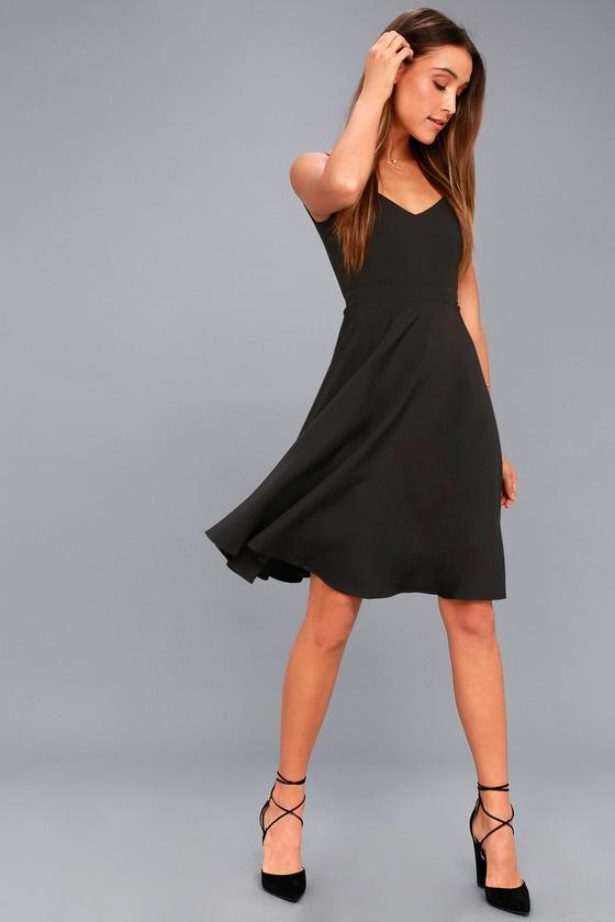 Gimme a Smooch Black Midi Skater Dress 5