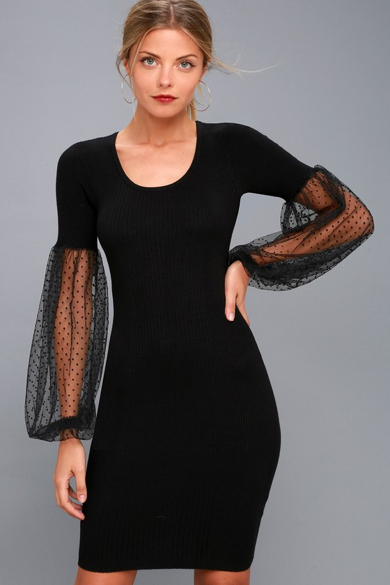 02abf95d89 Lost Ink - Black Bodycon Dress - Statement Sleeve Dress