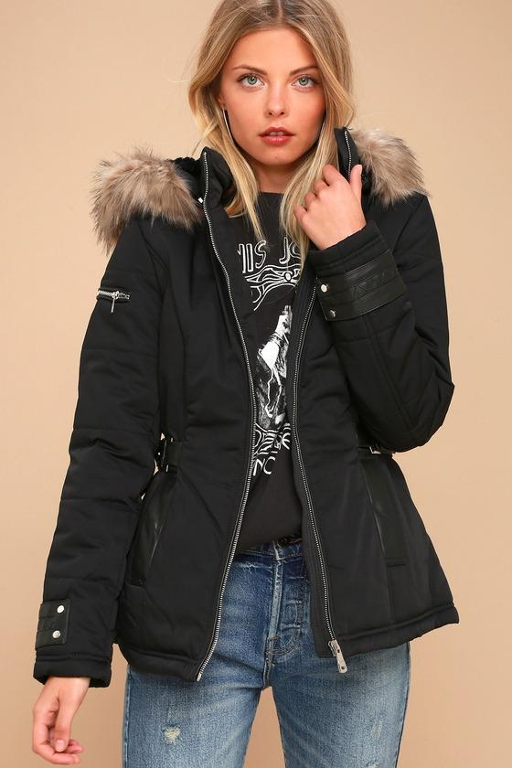 sale retailer cheapest half off Classic Black Coat - Faux Fur Trim Coat - Hooded Coat