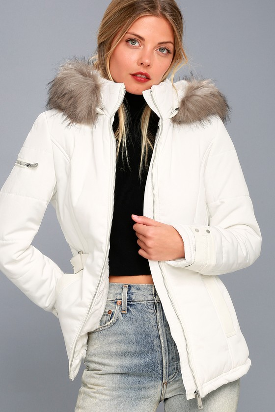 Classic White Coat - Faux Fur Trim Coat - Hooded Coat 3fcd625599cc