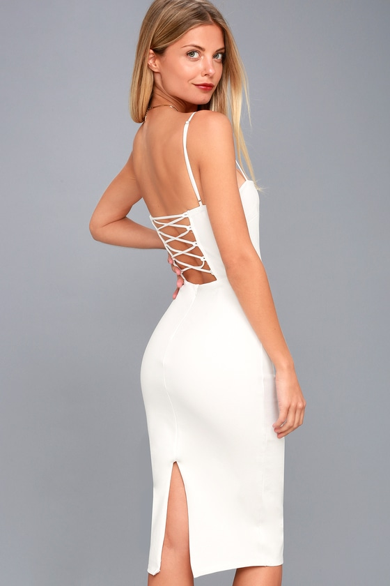 Captivated Love White Lace-Up Bodycon Dress 1