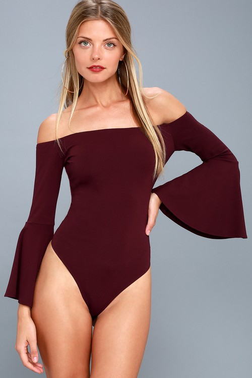 Good One Plum Purple Off-the-Shoulder Bodysuit