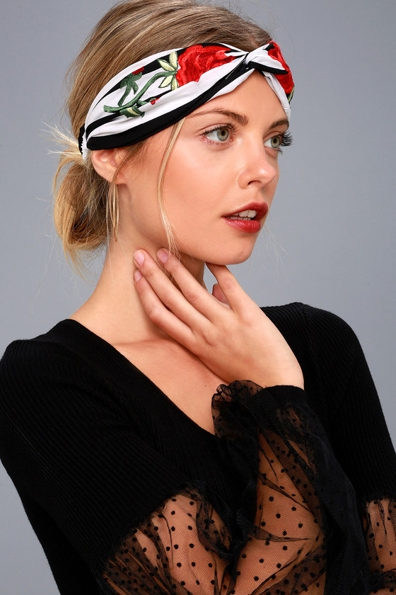 Flower of the Hour Embroidered Black and White Striped Headband 1
