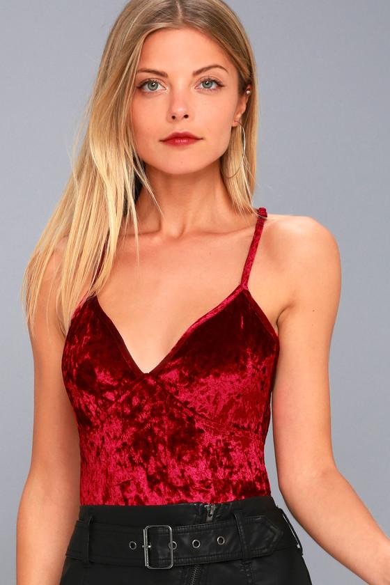 Sexy Wine Red Bodysuit - Strappy Velvet Bodysuit a9622a1a6