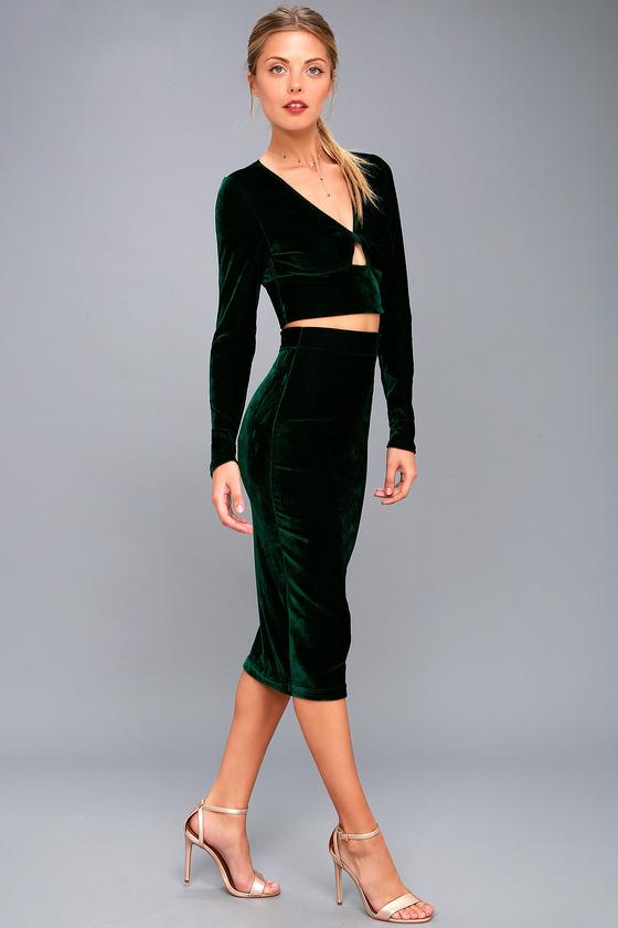 654eff37b1e22f Chic Forest Green Dress - Velvet Dress - Two-Piece Dress