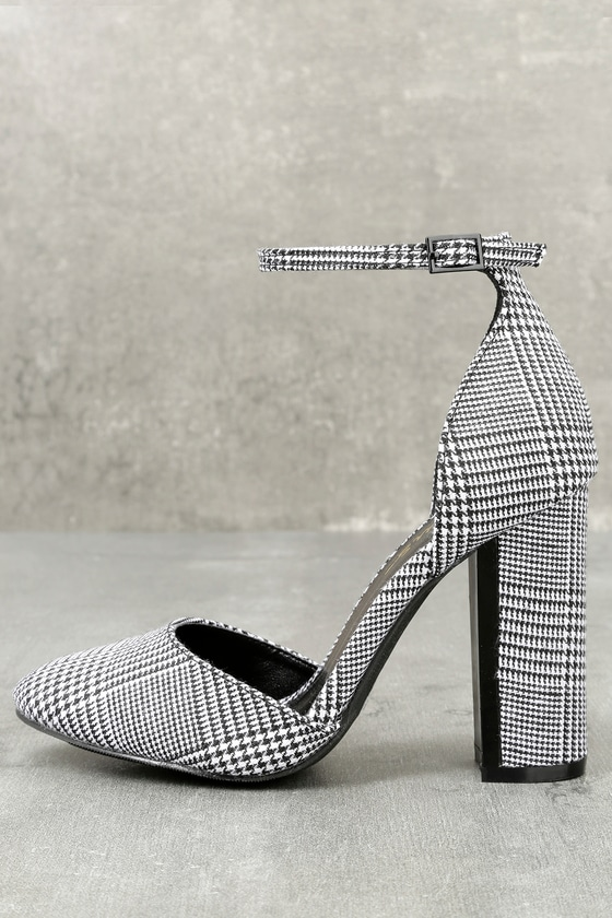 cee319a91f6 Laura Black and White Houndstooth Ankle Strap Heels – Lulus –  36.00