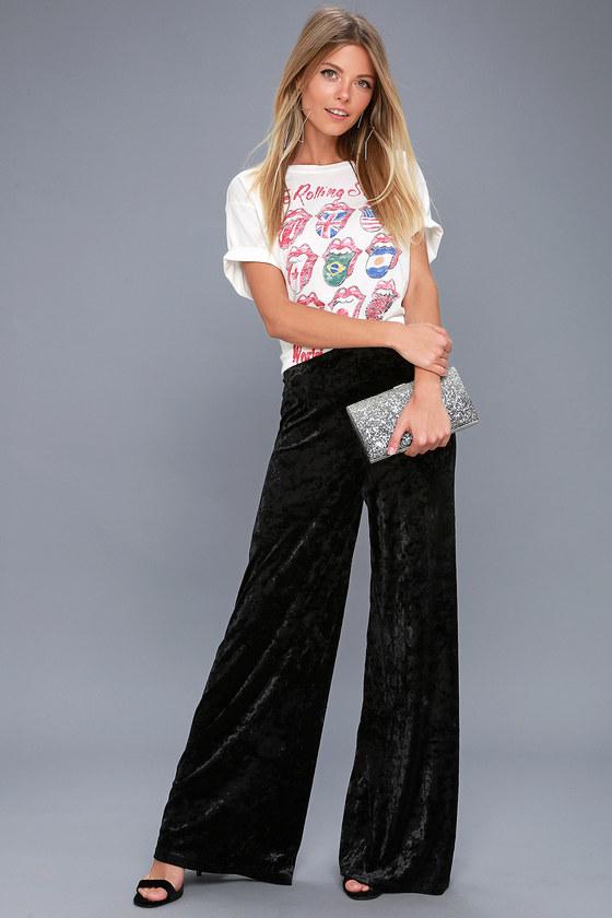 Corrinne Black Velvet Wide-Leg Pants