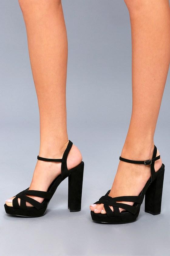 Sexy Black Platform Heels Vegan Suede Heels Black Heels