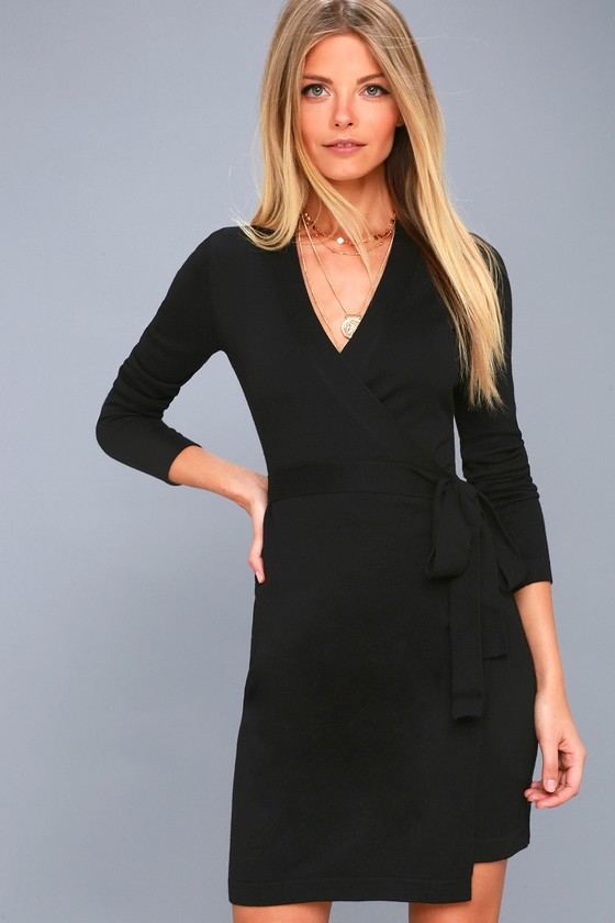 a108e980944 Long Sleeve Black Dress - Wrap Dress - Wrap Sweater Dress