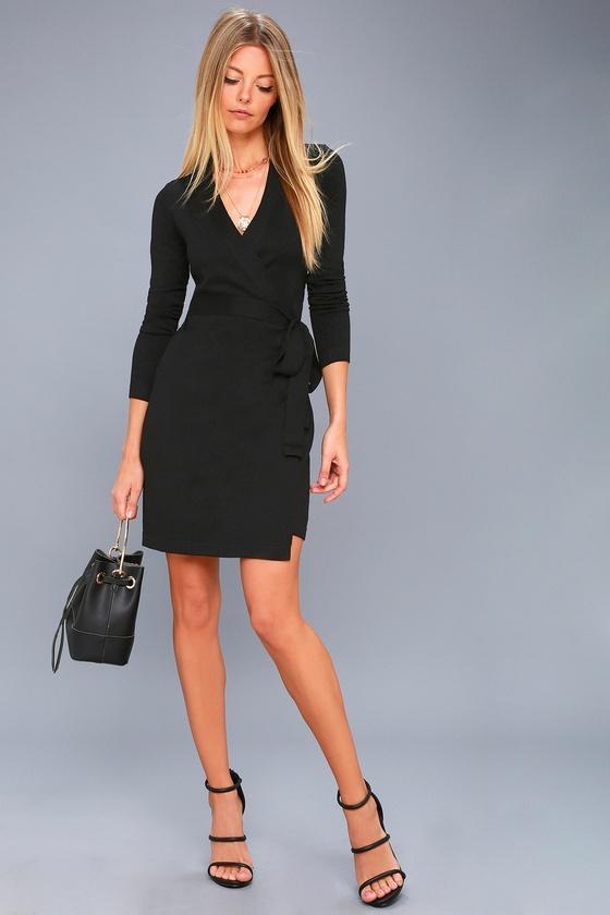 b9fd656f1f2 Long Sleeve Black Dress - Wrap Dress - Wrap Sweater Dress
