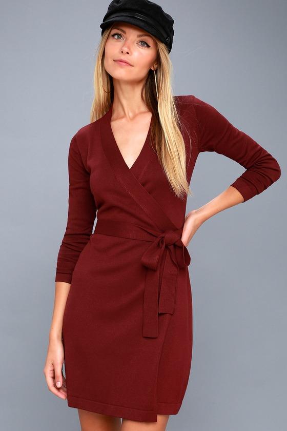0aa2b1cbd90a Long Sleeve Burgundy Dress - Wrap Dress - Wrap Sweater Dress