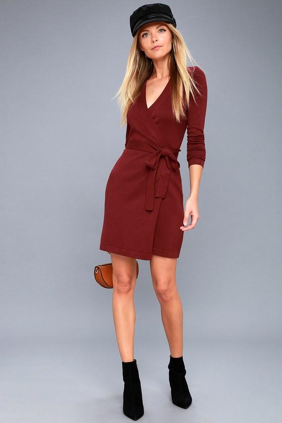 Long Sleeve Burgundy Dress - Wrap Dress - Wrap Sweater Dress 9e4525a83313