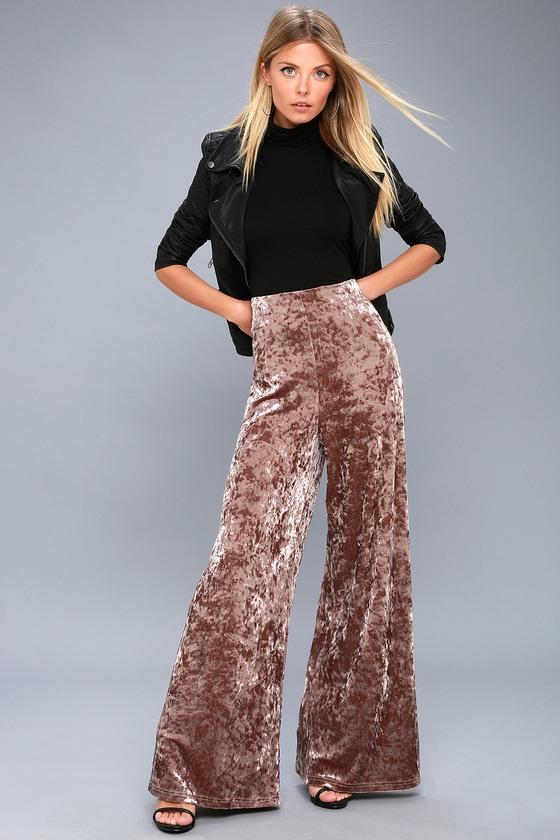 Taupe Velvet Pants Wide Leg Pants High Waisted Pants