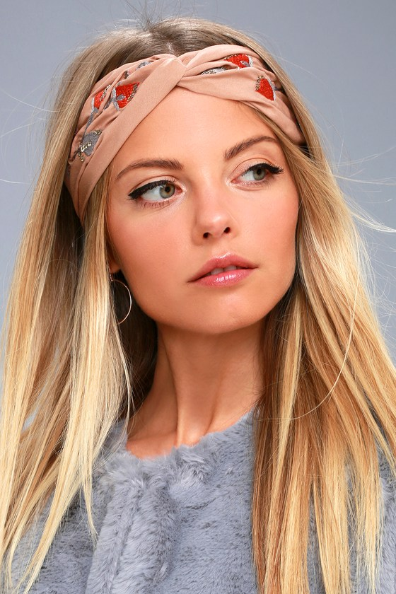 Nom De Bloom Light Brown Embroidered Headband 3